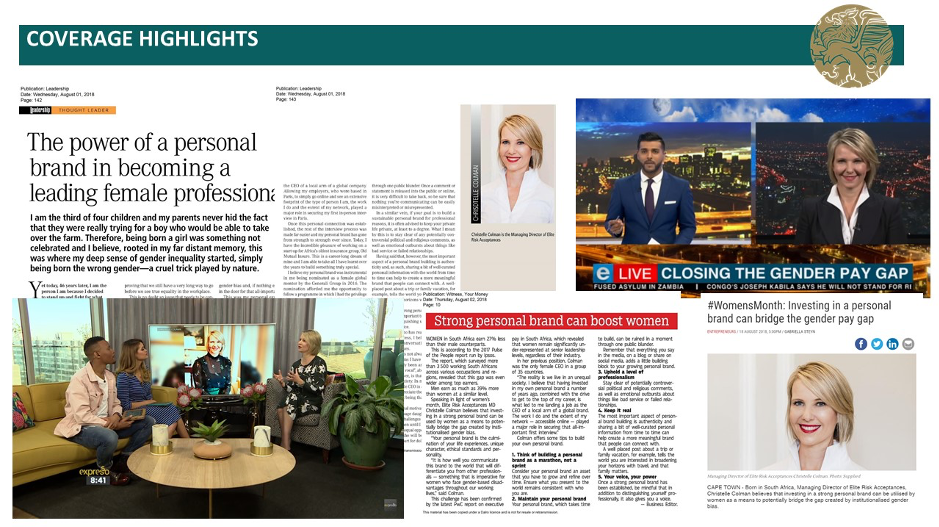 Some of the editorial coverage MSL Group South Africa, a PR agency in Cape Town, used to profile high-net-worth insurance brokers and financial advisors.